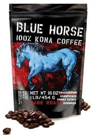 Blue Horse Dark Roast Whole Bean 100% Kona Coffee