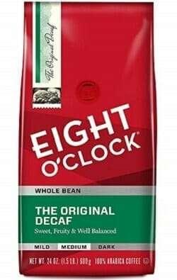 Eight O'Clock Whole Bean Original Decaf Coffee